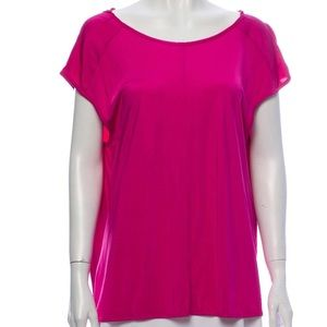 BALENCIAGA size 38 fuschia pink cowl drape blouse